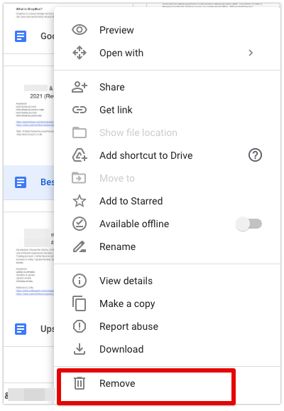 How to Remove Shared Files from Google Drive