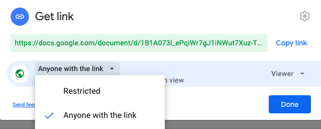 Turn on Link Sharing on Google Drive